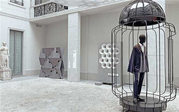 Cage for the 'Cape' suit Konstantin Grcic & Brioni